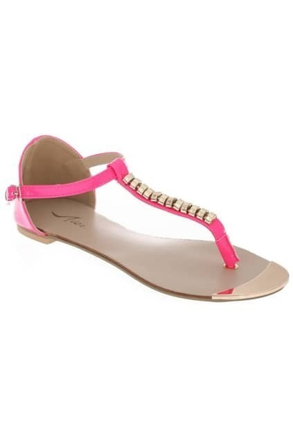 Gold-chain Rose Thong Flat Sandals