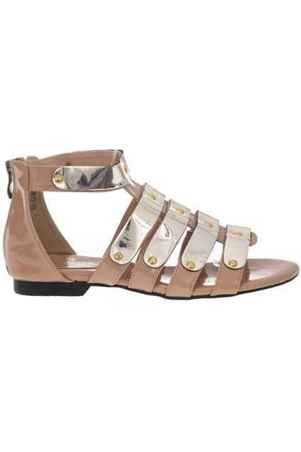 Multi-strap Metallic Peep Sandals