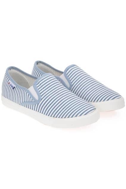 Light Blue Striped Canvas Shoes
