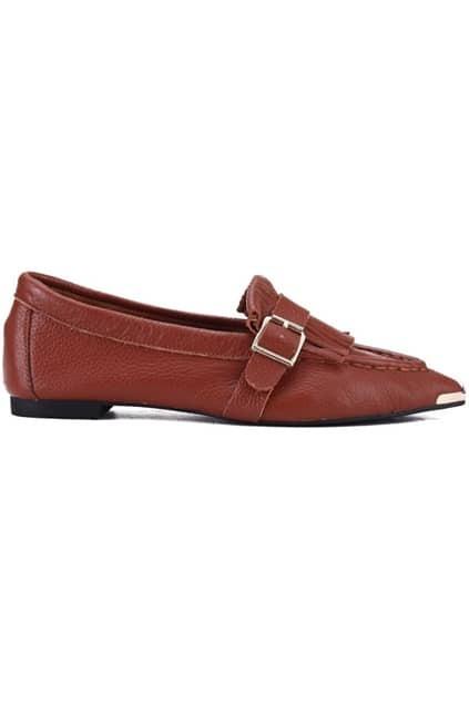 Metal Detailed Brown Flat Shoes