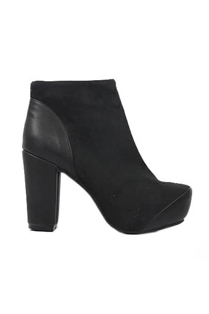 Black Chunky Heels Platform Ankle Boots