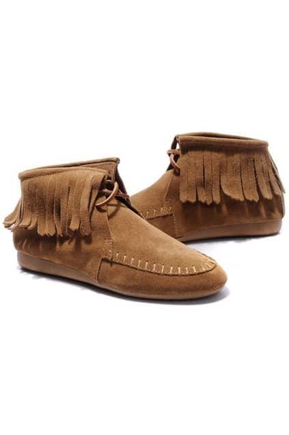 Tassels Tan Flat Ankle Boots