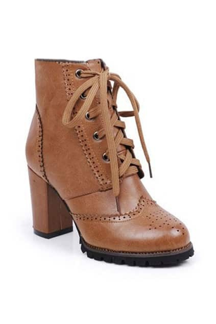 Lace Up Brown Chunky Heels Ankle Boots