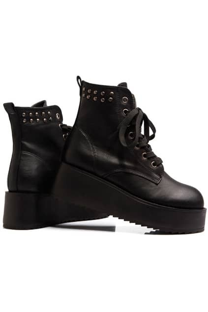 Rivets Black Wedge-soled Ankle Boots