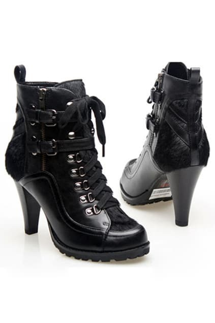 Rivets Black High-heel Ankle Boots