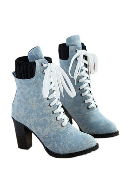 Rounded Toe Light Blue Ankle Boots