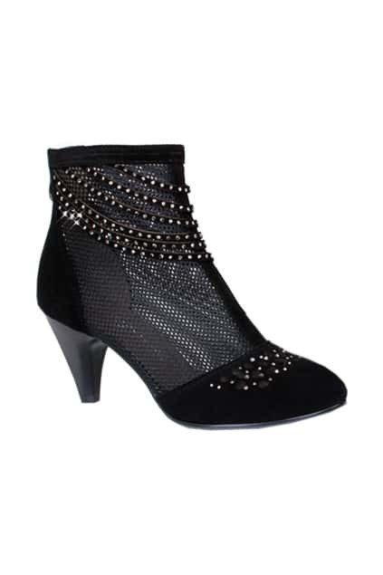 Hollow Black Pointed Ankle Boots