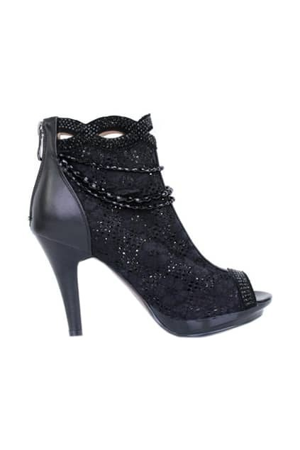 Hollow Black Peep Toes Ankle Boots