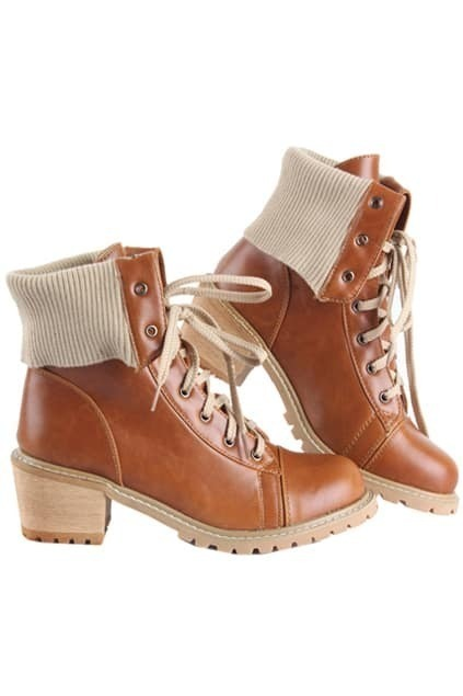 Lace Up Light Brown Ankle Boots