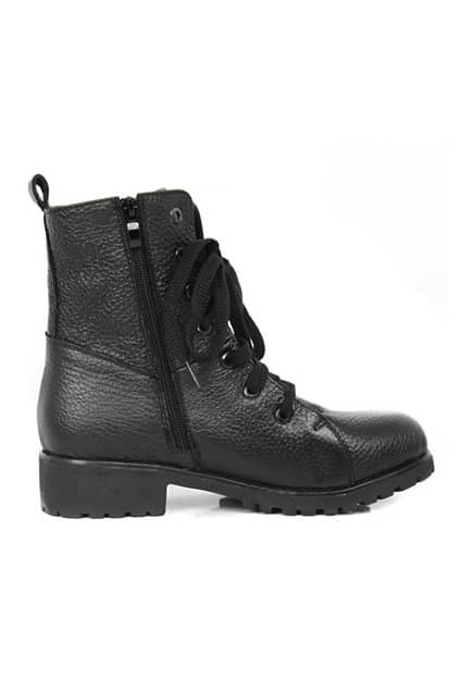 Punk Lace Up Black Ankle Boots