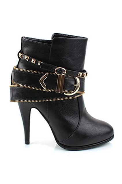 Golden Buckle Black Ankle Boots