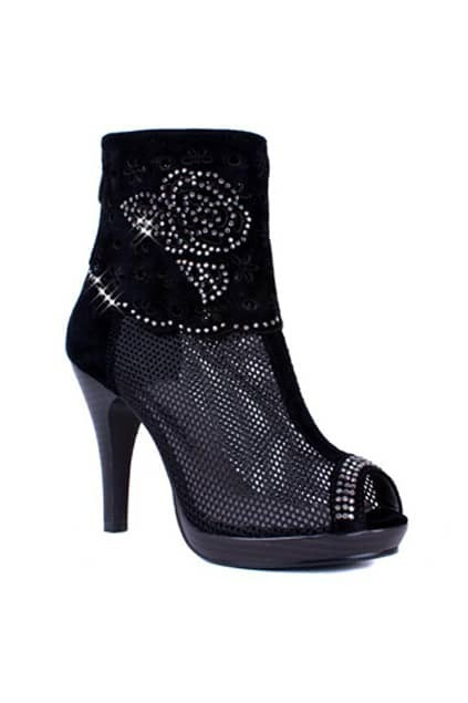 Hollow Peep Toes Black Ankle Boots