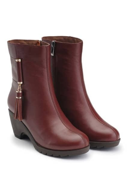 Tassels Brown Wedge-soled Ankle Boots