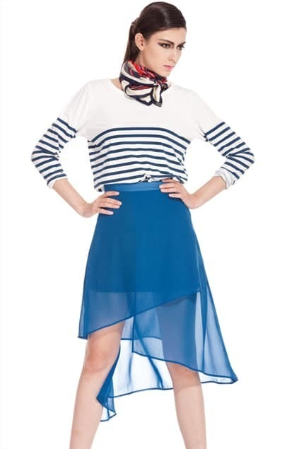 Asymmetric Hem Blue Chiffon  Skirt