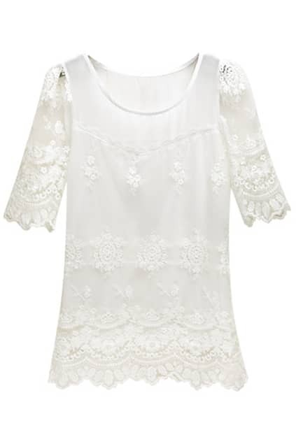 Retro Embroidered Sheer Lace White Blouse