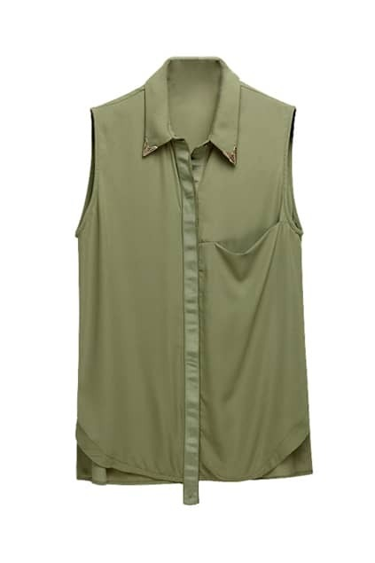 Chiffon Sleeveless Army Green Blouse