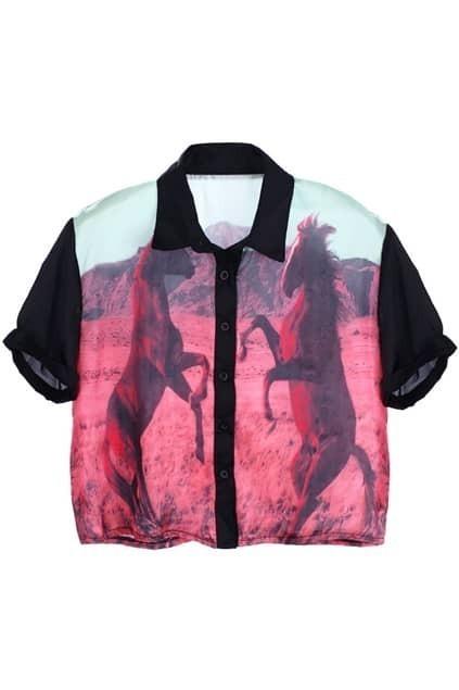 Horses Print Cropped Shirt