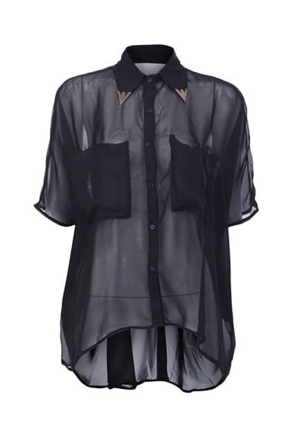 Metal Collar Anomalous Shirt