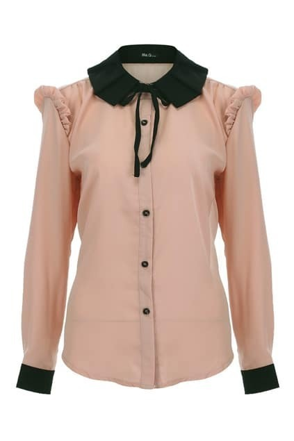 Contrast Pleated Collar Pink Shirt
