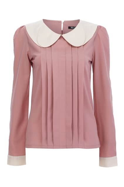 Peter Pan Collar Pleated Blouse