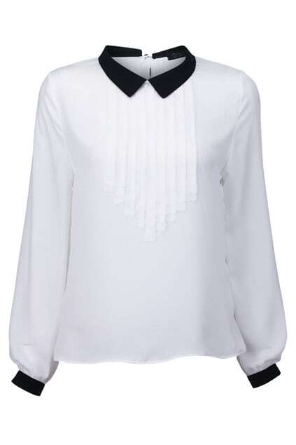 Color Block Pleated Blouse