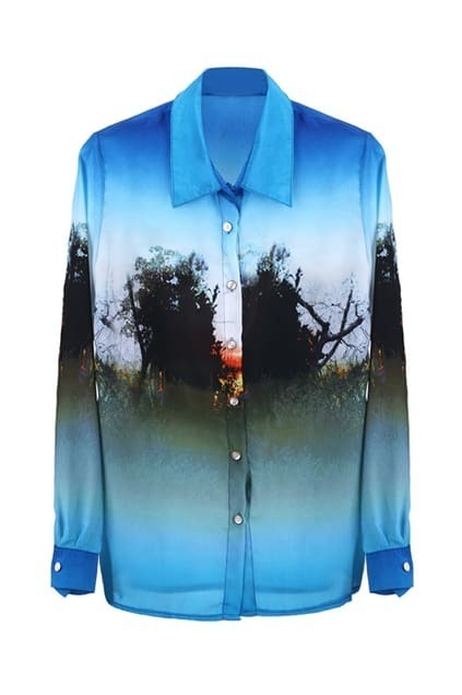Forest Print Blue Shirt