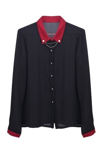 Chain Detailed Color Contrast Shirt