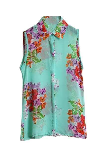 Flowers Print Sleeveless Sheer Shirt