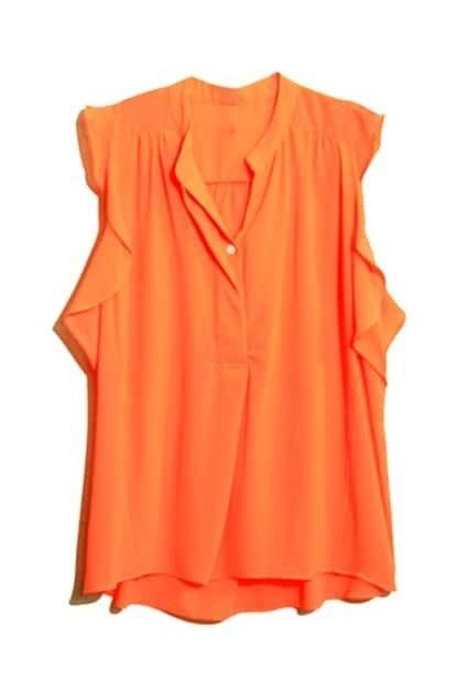 V-neckline Agaric Oversized Orange Shirt