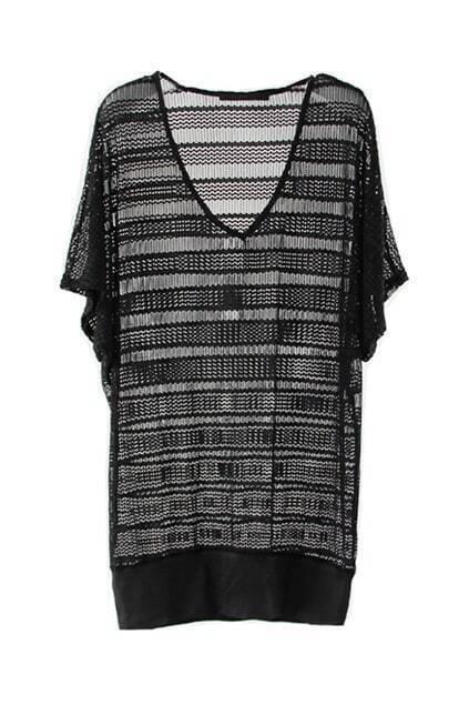 V-Shaped Neck Mesh Black T-shirt
