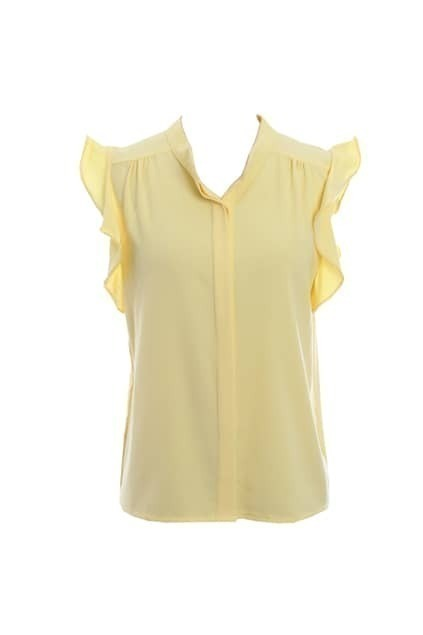 Flouncing Sleeveless Chiffon Yellow Shirt