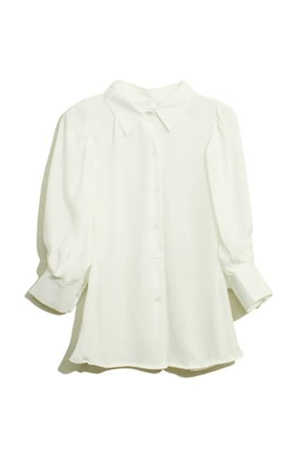 Puff Sleeves White Chiffon Shirt