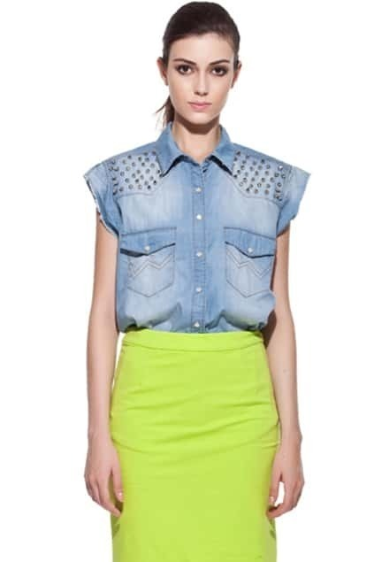 Rivets Denim Blue Blouse