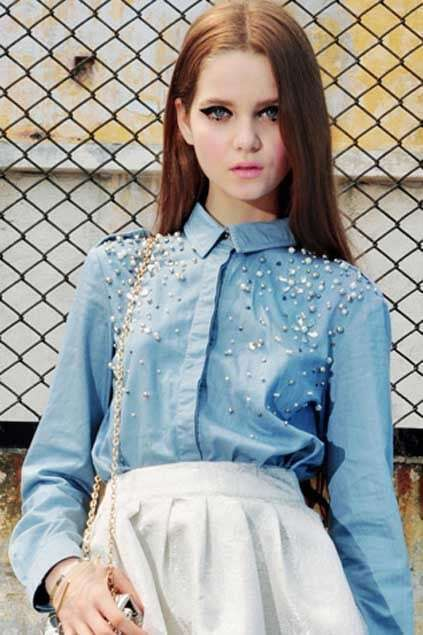 Beaded Blue Denim Blouse