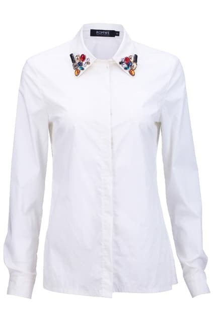 Colorful Beaded Collar White Shirt