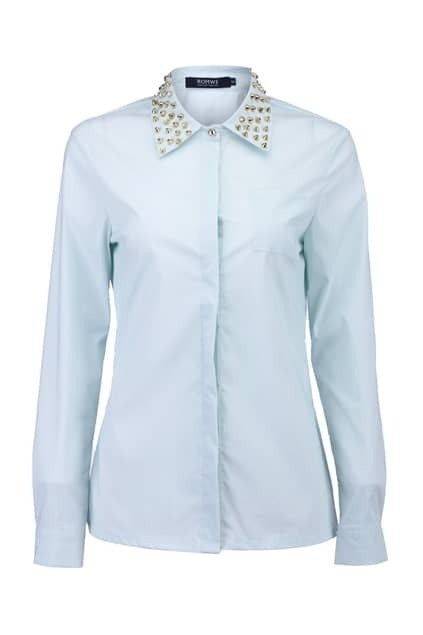 Golden Rivets Collar Mint Shirt