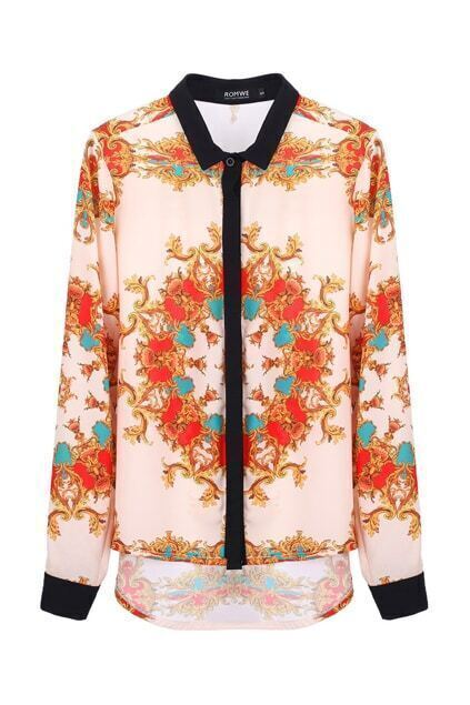 Baroque Color Block Anomalous Shirt
