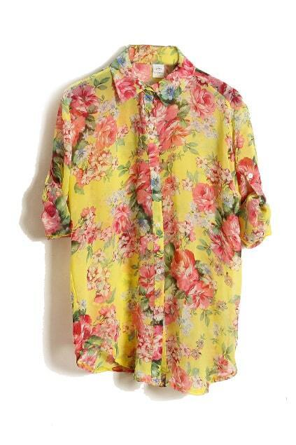 Fold-over Cuffs Floral Shirt