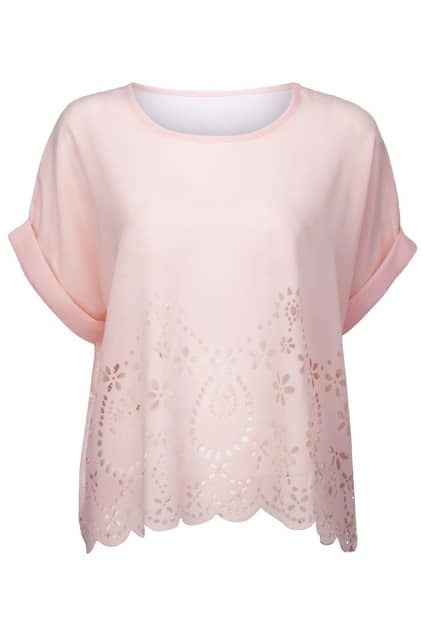 Cut-out Detailing Pink Blouse