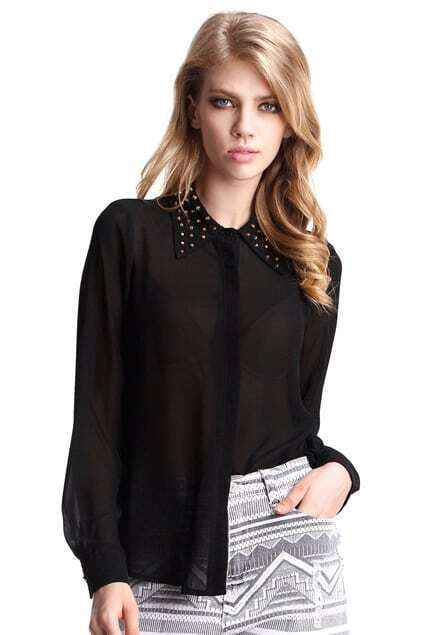 Rivets Collar Black Shirt
