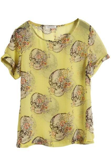Skull Print Yellow Blouse
