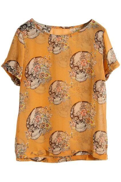 Skull Print Orange Blouse
