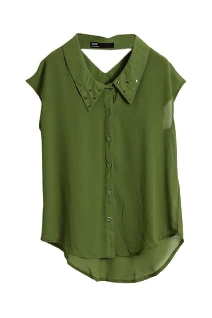 Rivets Detailed Cut-out Olive Shirt