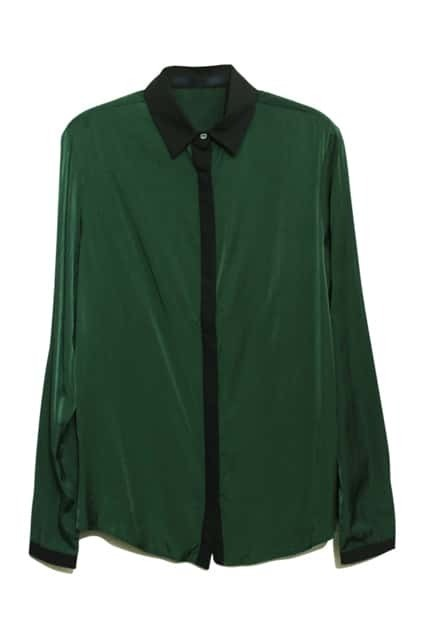 Lapel Neck Green Shirt