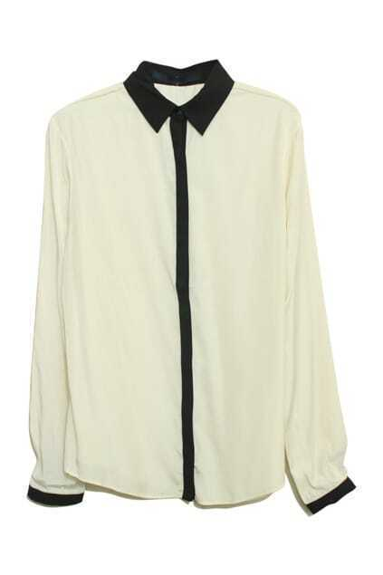 Lapel Neck Beige Shirt
