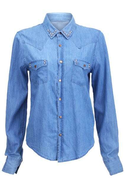 Riveted Detailed Blue Denim Shirt