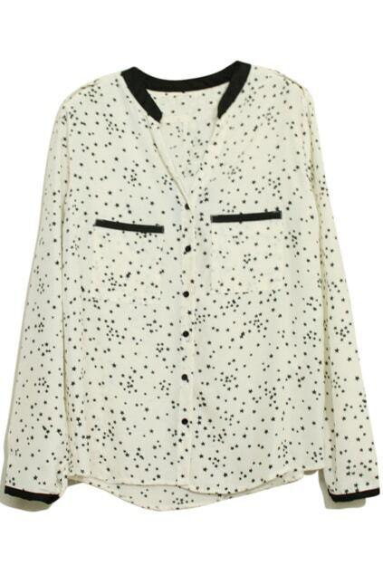 V-neckline Stars Print White Chiffon Shirt