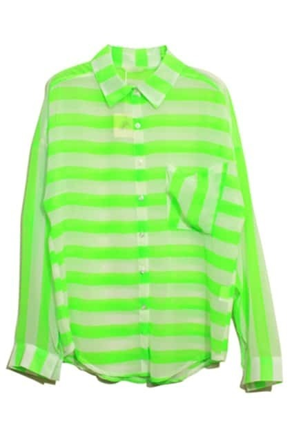 Point Collar Stripes Fluorescence-green Shirt