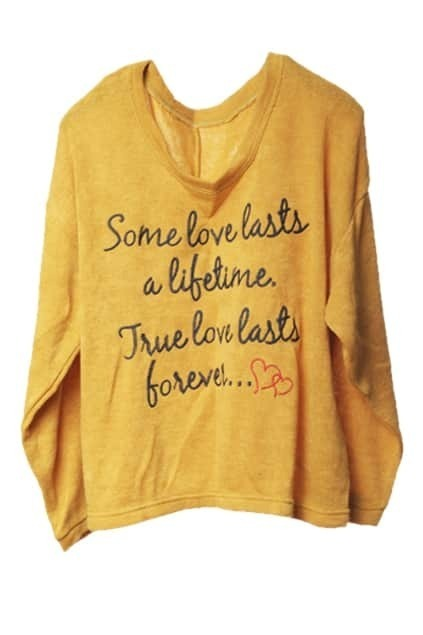 Letters Print Loose Yellow Sports T-shirt