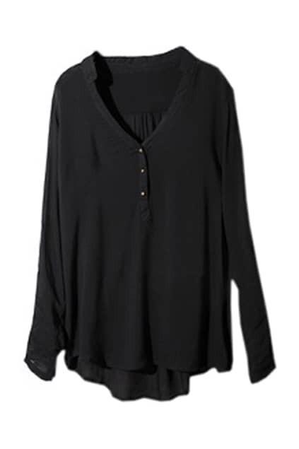V-neck Nine Points Sleeve Black Shirt